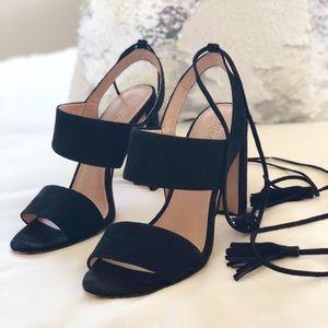 Madewell tie ankle black suede sandals w/ tassels